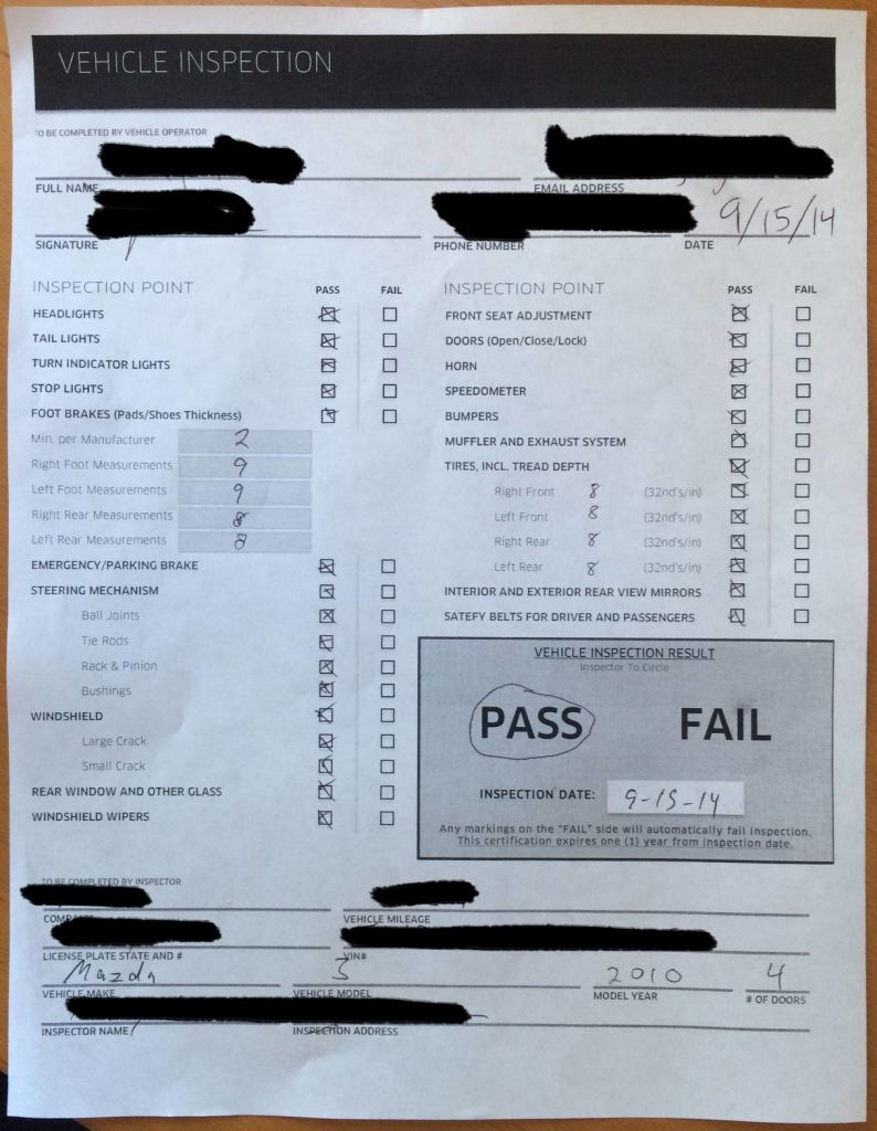 Lyft car inspection form pdf