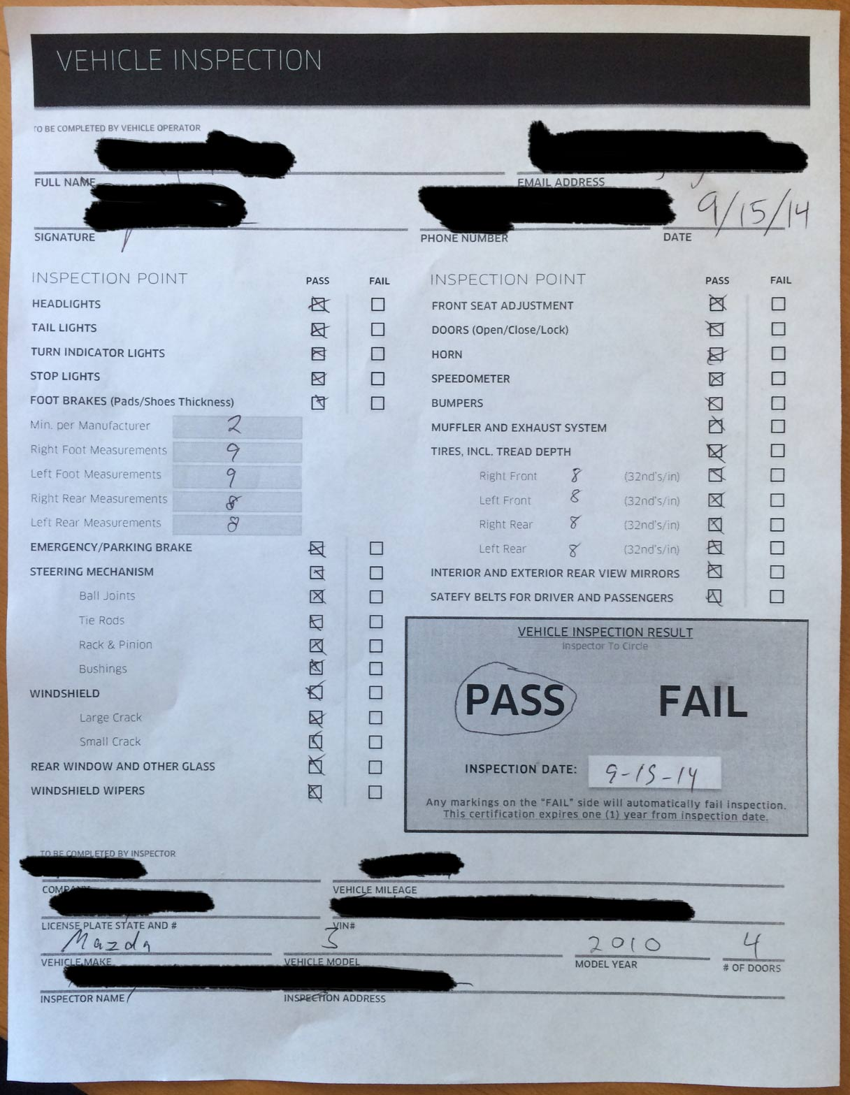 Uber car inspection form toronto 13