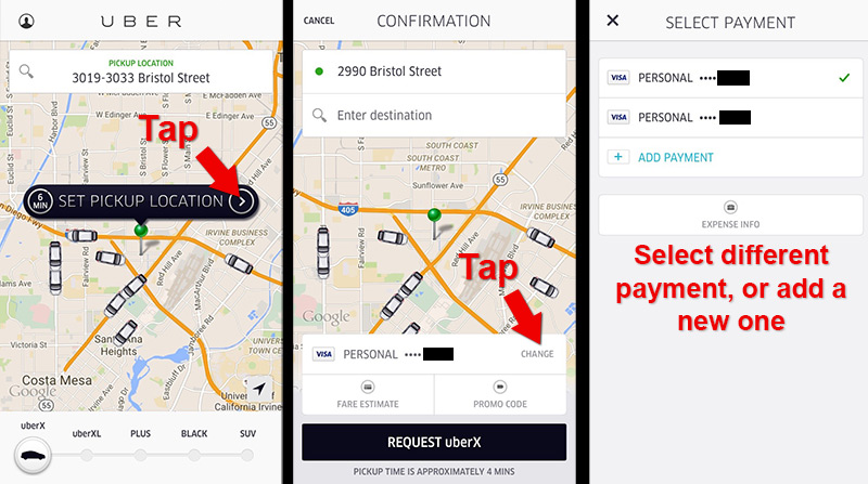 Uber Payment Options How To Select A Different Credit