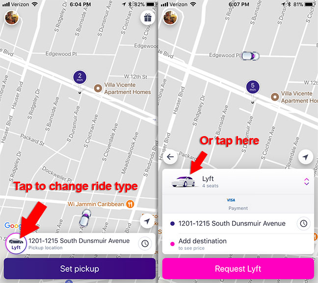 How to change your Lyft ride type