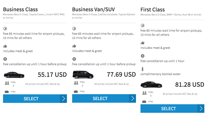 Blacklane pricing