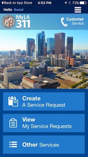 MyLA311 App Home Screen