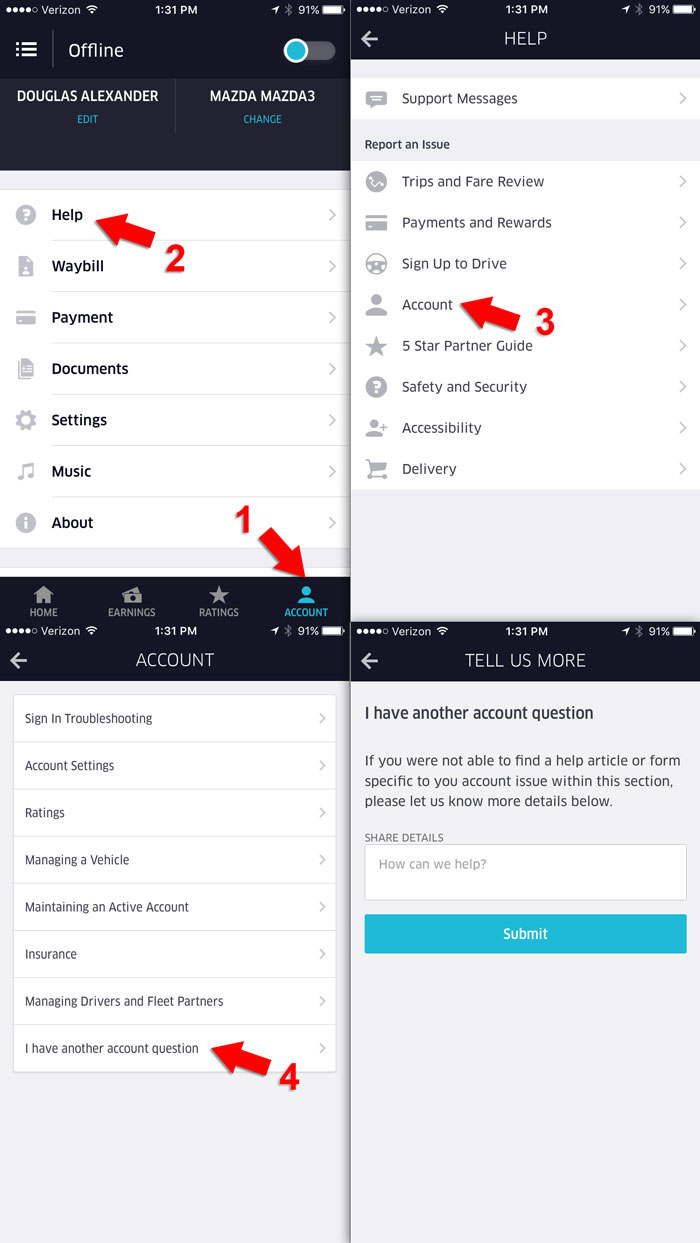 how to change uber account in app
