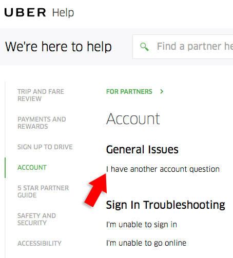 Ask a question on uber's site