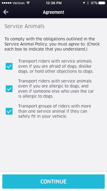 service dog agreement for Uber drivers