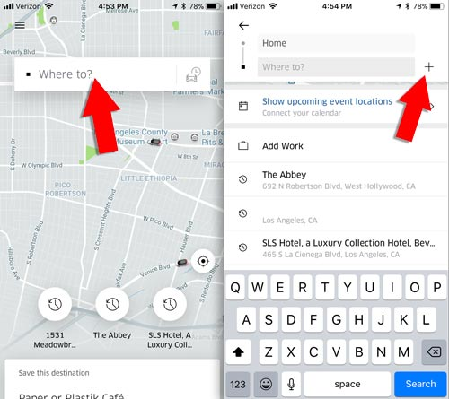 Add multiple stops to your Uber trip