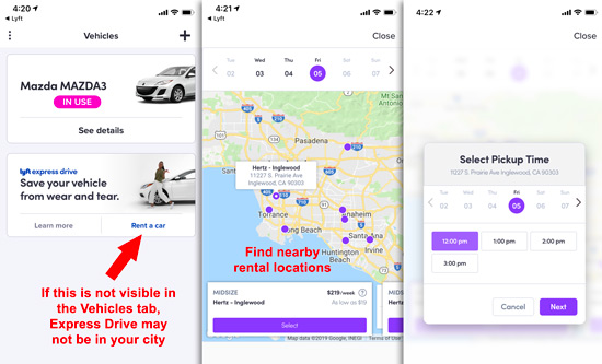 How to find Lyft rental options in the Driver app
