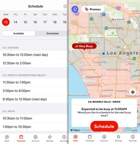 DoorDash schedule and dasher map