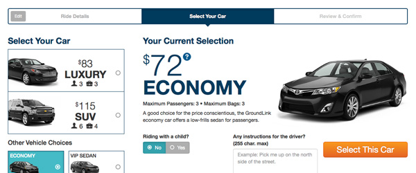 An image showing the booking process for GroundLink