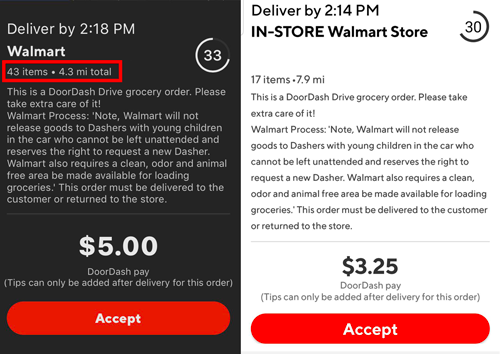 Walmart orders on DoorDash showing low payout
